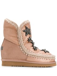 Mou Knitted Detail Boots Pink