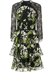 Marchesa Notte Floral Embroidered Lace Dress Black