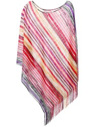 Missoni Striped Poncho Women Nylon Viscose Metallized Polyester One Size Pink Purple