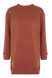Topshop Petite Throw On Sweat Tunic Rust