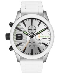 Diesel Men's Chronograph Rasp Chrono White Silicone And Stainless Steel Bracelet Watch 50Mm