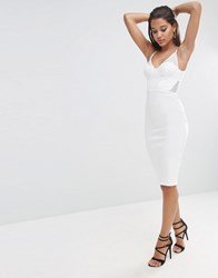 Asos Night Lace Back Sporty Scuba Pencil Dress Ivory White