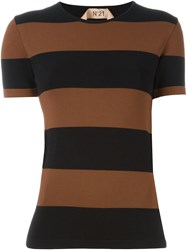 No21 Striped T Shirt Brown