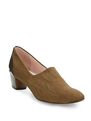 Taryn Rose Fiona Textured Low Heel Pumps Brown
