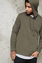 Forever 21 Cotton Blend Hooded Tee Olive