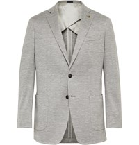 Peter Millar Grey Prince Of Wales Checked Wool Silk And Linen Blend Blazer Gray