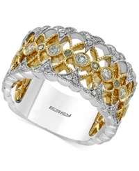 Effy Duo By Diamond Openwork Ring 1 2 Ct. T.W. In 14K Gold And White Gold Two Tone