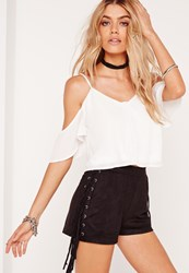 Missguided Cold Shoulder Button Front Crop Top White White