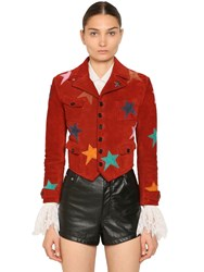 Saint Laurent Patched Suede Leather Jacket Red