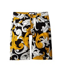 Versace Macrobarocco Print Shorts W Zipper Pockets Big Kids Black Gold Men's Shorts