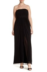 Marina Strapless Ruched Gown Plus Size Black