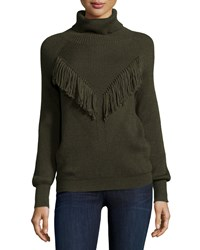 Haute Hippie Ribbed Turtleneck With Fringe Military