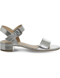 Office Morgan Metallic Block Heel Sandals Silver
