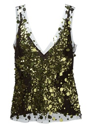 Amen Sheer Sequin Vest Black