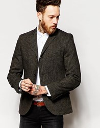 Heart And Dagger Herringbone 3 Button Blazer In Skinny Fit Green