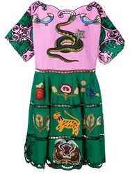 Gucci Animal Embroidered Dress Multicoloured Linen Pink Green