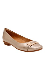 Clarks Candra Glare Leather Ballet Flats Soft Gold