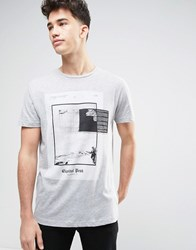 Pull And Bear T Shirt With Capitol Print In Gray Gray