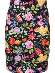 Nicole Miller Floral Embroidery Skirt Black