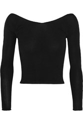 Ballet Beautiful Cropped Off The Shoulder Stretch Knit Sweater Black