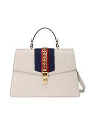 Gucci Sylvie Leather Large Top Handle Bag Leather Nylon Metal Microfibre White
