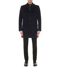 J. Lindeberg Single Breasted Wool Coat Dk Navy