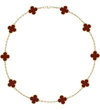 Van Cleef And Arpels Vintage Alhambra Gold Carnelian Necklace Yellow Gold