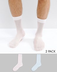 Asos Smart Socks In Blue And Pink 2 Pack Multi