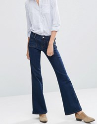 Vila Front Pocket Mini Flare Jeans Dark Blue Denim