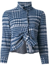 Hache Knot Detail Cropped Jacket Blue