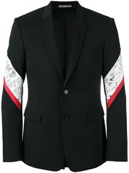 Christian Dior Homme Striped Panel Blazer Black