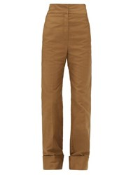 Christophe Lemaire Turn Up Cuff Cotton Twill Trousers Khaki