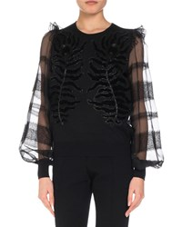 Andrew Gn Embroidered Knit Top W Organza And Lace Sleeves Black