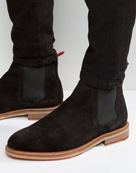 Asos Chelsea Boots In Black Suede With Red Back Pull Black
