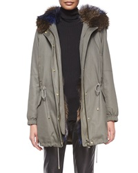 Vince Parka Jacket With Fur Trim Hood Army Green