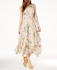 Inc International Concepts I.N.C. Petite Ruffled Lace Maxi Dress Created For Macy's Yellow Mixed Floral