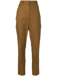 Yves Saint Laurent Vintage Cropped High Rise Straight Leg Trousers Brown