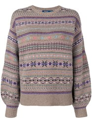 Polo Ralph Lauren Embroidered Christmas Sweater Neutrals