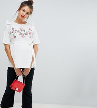 Mamalicious Floral Smock Blouse White