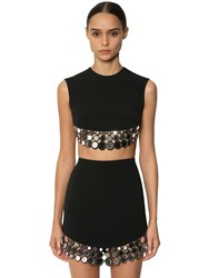 David Koma Embellished Cady Crop Top Black