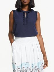 Boden Peggy Pleated Top Navy