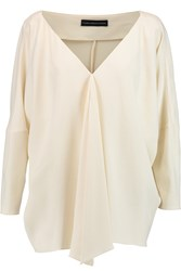 Maria Grachvogel Lori Draped Crepe De Chine Top White