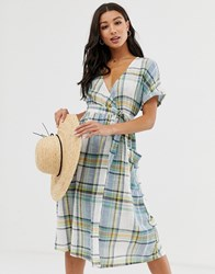 Influence Wrap Midi Dress With Tie Waist In Blue Check