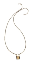 Rebecca Minkoff Long Locked Charm Necklace Silver Gold
