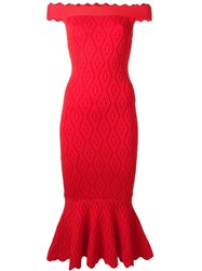 Jonathan Simkhai Off Shoulders Fitted Dress Red