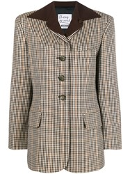 Moschino Vintage 2000'S Checked Jacket Brown