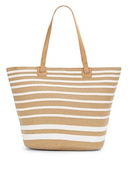 Saks Fifth Avenue Striped Straw Tote Toast