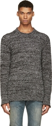 Dolce And Gabbana Black And White M Lange Knit Crewneck Sweater