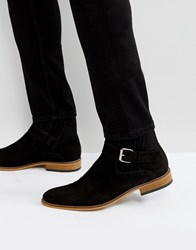 House Of Hounds Adrian Suede Buckle Boots In Black Black