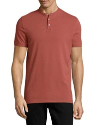 Selected Collarless Cotton Polo Shirt Apple Butter